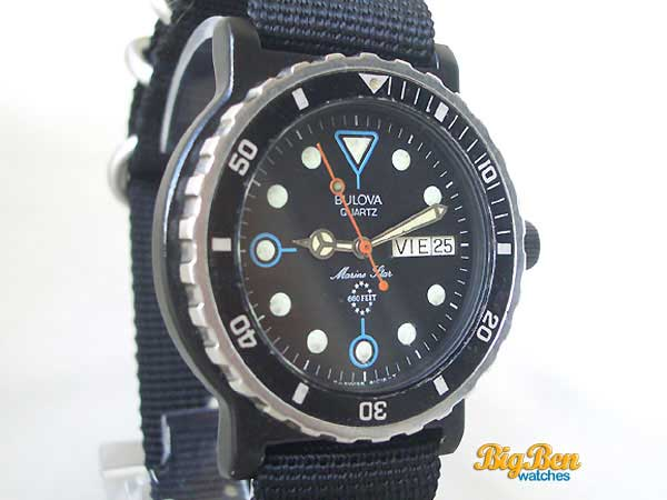 bulova marine star 600 feet quartz dive watch