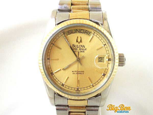 bulova super seville day & date automatic watch