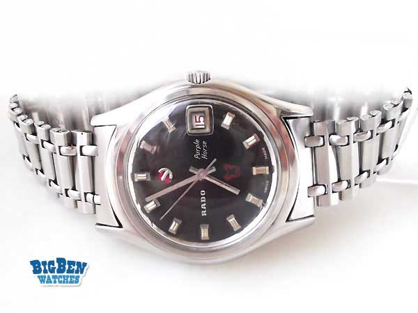 rado purple hourse automatic date watch
