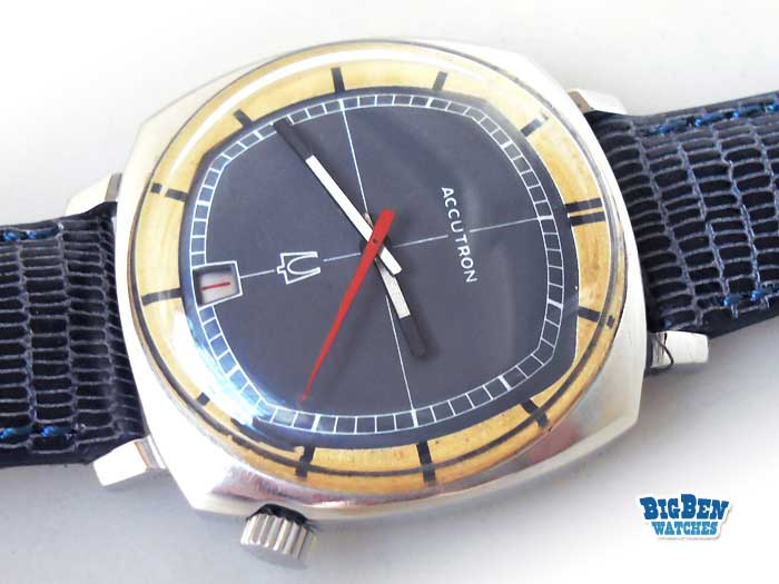 bulova accutron tuning fork quartz date watch