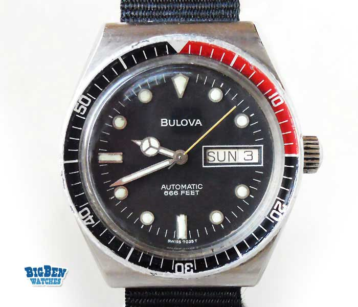 bulova 666 feet automatic day-date watch