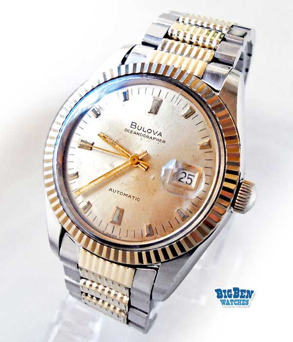 bulova oceanographer 10k gold bezel automatic date watch
