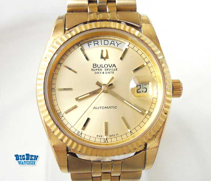 bulova super seville day date automatic watch