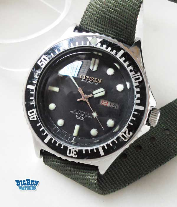 citizen 21 jewels diver 150m automatic day-date watch