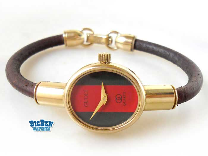 gucci classic leather cable watch