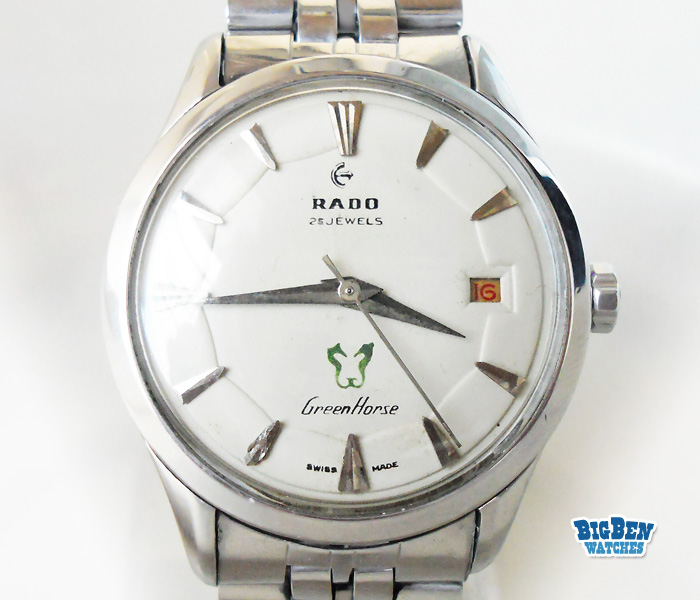 early rado green horse automatic date watch