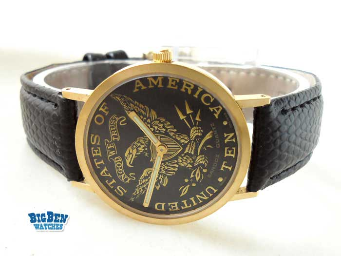 sandoz american eagle coin manual-wind watch