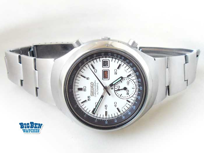 seiko chronograph helmet vader 6139-7101 automatic day-date watch