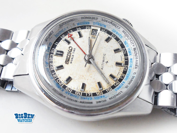 seiko world time gmt 6117-6010 automatic date watch