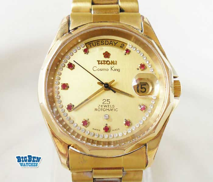 titoni cosmo  king automatic day-date watch