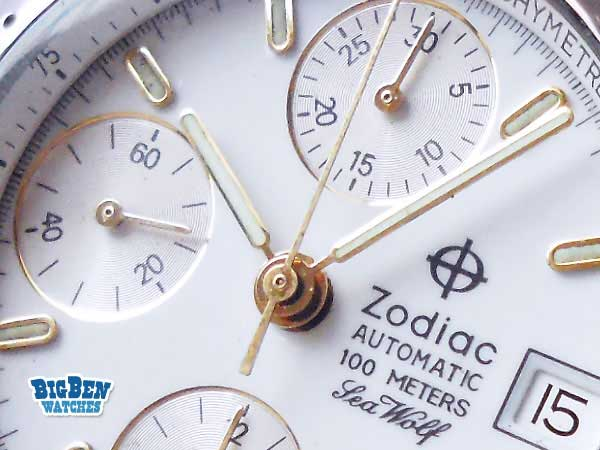 zodiac sea wolf chronograph 100 meters automatic date watch