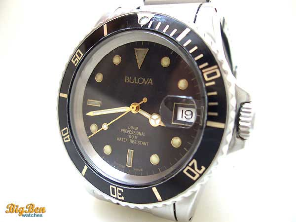 bulova diver professional 100m automatic date watch