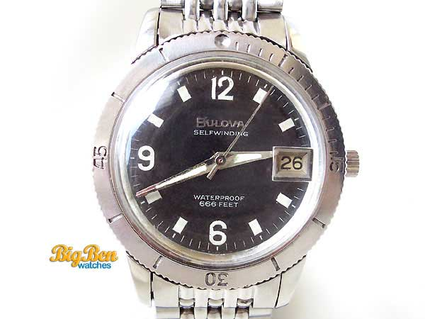 bulova selfwinding 666 feet diver automatic date watch
