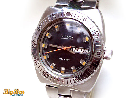 bulova automatic 666 feet diver day-date watch
