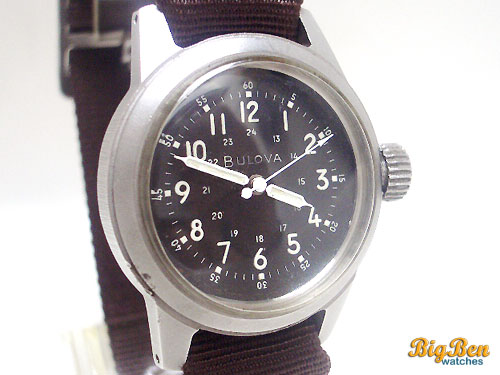 rare bulova military pilot navigator manual-wind watch