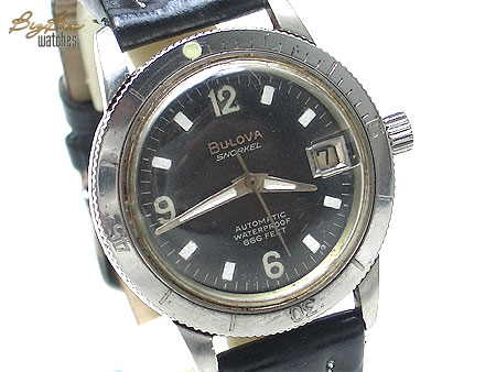 bulova snorkel 666 feet automatic date leather watch