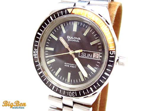 vintage bulova snorkel automatic day-date watch
