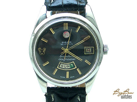 rado green horse daymaster automatic day-date leather watch