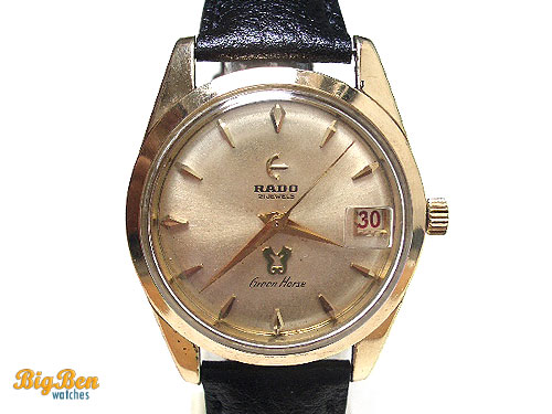 rare rado green horse manual-wind date watch