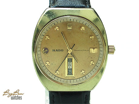 rado marco polo automatic day-date leather watch