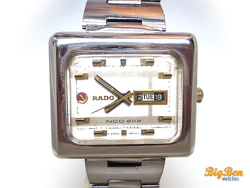 rare rado ncc 202 automatic day-date watch