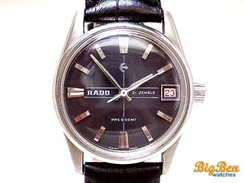 authentic rado president manual-wind date watch