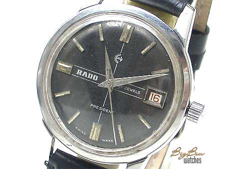 rare rado president manual-wind date leather watch