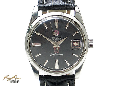 rado purple horse automatic date leather watch