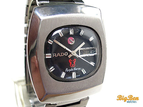 vintage rado purple horse automatic day-date watch