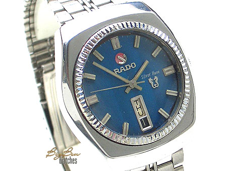 rado silver horse automatic blue dial day-date watch